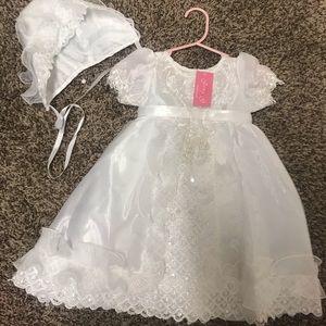 Baby BaptismDress and Bonnet